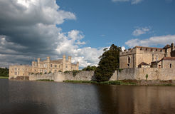 Leeds Castle and Lake in Kent England. Ancient Castle in Leeds Kent with Large Lake Acting as Moat on a Sunny Day Royalty Free Stock Photo