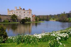 Leeds Castle near the lake. One of the views of Leeds Castle across the river Stock Image