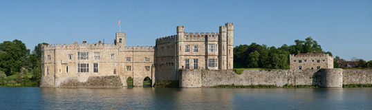 Leeds Castle Panoramic. A panoramic wide view of Leeds Castle in Kent, England on a sunny day Royalty Free Stock Photography
