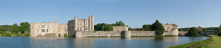 Leeds Castle Panoramic. A panoramic wide view of Leeds Castle in Kent, England on a sunny day Royalty Free Stock Photos