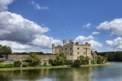 Leeds Castle on a Summers day. Leeds Castle reflected in the still waters of the surrounding moat stock photo