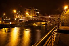 Modern northern eurorpean city at night stock photography