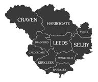 Leeds city map England UK labelled black illustration. Leeds city map England UK labelled black Royalty Free Stock Image