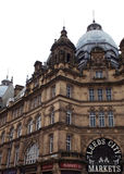 Leeds city market hall. Front entrance and details of the ornate victorian architecture stock photo