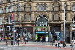 Leeds City Markets. LEEDS, UK - JULY 12, 2016: People visit Leeds City Markets in the UK. Leeds urban area has 1.78 million population stock images