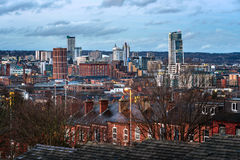 Leeds City Skyline England UK. View of Skyscrapers,Houses and Leeds city Under a Cloudy Sky royalty free stock image