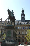 Leeds City Square. With office block and statue, Leeds, England royalty free stock photography