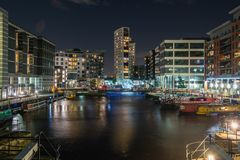 Leeds Clarence Dock Reflections, West Yorkshire fotografia stock libera da diritti