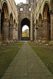 Leeds Kirkstall Abbey. Inside a large cathedral of Kirkstall in Leeds, United Kingdom Royalty Free Stock Photos