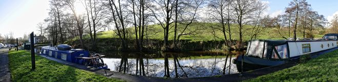 Leeds Liverpool Canal at Salterforth in the beautiful countryside on the Lancashire Yorkshire border in Northern England. Salterforth is a village within the Stock Photos