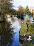 Leeds Liverpool Canal at Salterforth in the beautiful countryside on the Lancashire Yorkshire border in Northern England. Salterforth is a village within the Royalty Free Stock Photos
