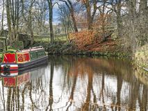 Leeds Liverpool Canal at Salterforth in the beautiful countryside on the Lancashire Yorkshire border in Northern England. Salterforth is a village within the Stock Photography