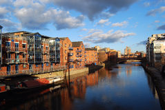 River Aire. Modern architecture reflected in River Aire Stock Images