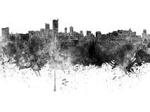 Leeds skyline in black watercolor Stock Image