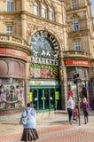 Leeds-Stadt-Markteintritt Stockfoto