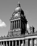 Leeds Town Hall Clock. The clock tower of Leeds (UK) town hall. Built in 1858, this building recently celebrated its 150th anniversary. This black and white Stock Photo