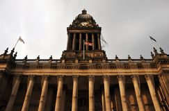 Leeds town hall in west yorkshire view of the front of building. With columns and clock tower Stock Photos
