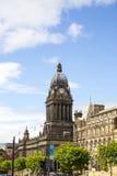 LEEDS, UK - 6 AUGUST 2015. Leeds Town Hall Picture. Leeds Town Hall and Leeds Town Hall Clocktower stock photography