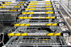 LEEDS, UK - 20 AUGUST 2015. Netto supermarket shopping trollies. Supermarket Trolly Park at a branch of Netto supermarket Royalty Free Stock Images
