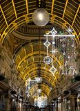 County Arcade in the Victoria Quarter, Leeds City Centre, UK. The mall is decorated for Christmas. Leeds, UK. County Arcade in the Victoria Quarter, Leeds City stock image