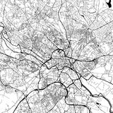 Leeds, UK, Downtown Vector Map. Leeds Downtown Vector Map Monochrome Artprint, Outline Version for Infographic Background, Black Streets and Waterways stock illustration