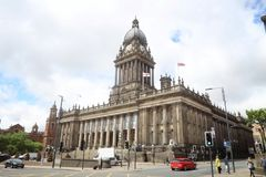 Leeds City Hall. LEEDS, UK - JULY 12, 2016: People visit City Hall in Leeds, UK. Leeds urban area has 1.78 million population stock image