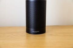 LEEDS, UK - 18 MARCH 2017. Amazon Echo Speaker with Alexa Assistant