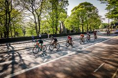 Cyclists in Tour de Yorkshire 2018 royalty free stock photography