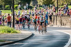 Cyclists in Tour de Yorkshire 2018 stock photography