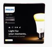 LEEDS, UK - 17 NOVEMBER 2016.  Philips hue white ambience starter kit. Philips hue white ambience light bulb starter kit Royalty Free Stock Photos