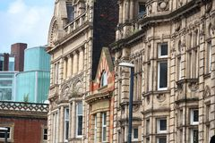 Leeds, UK. Old British architecture of Briggate street Stock Photo