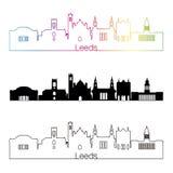 Leeds V2 skyline linear style with rainbow Royalty Free Stock Image