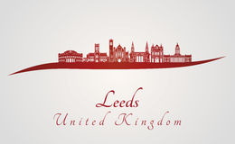 Leeds V2 skyline in red Royalty Free Stock Photos