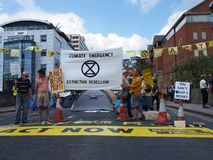 The extinction rebellion protest blocking the road at victoria bridge in leeds stock images