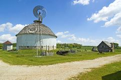 Leedy round barn. With cabin and windmill. Fulton County, Indiana Stock Images
