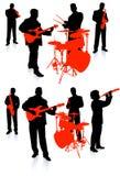 Leef band speelmuziek op witte achtergrond Stock Afbeeldingen