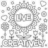 Leef creatief Kleurende pagina Vector illustratie Stock Foto's