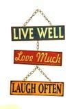 Leef goed liefde veel lach vaak teken stock afbeelding