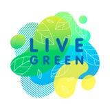 Leef groen - concept met heldere vloeibare vormen stock illustratie