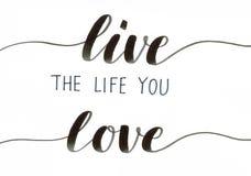 Leef het leven u - motievenhand het van letters voorzien inschrijving in zwarte houdt van stock illustratie
