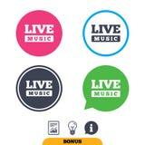 Leef het pictogram van het muziekteken Karaokesymbool Stock Foto