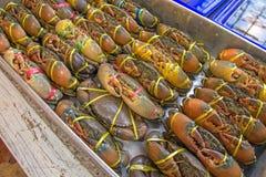 Leef krabben klaar om in een markt worden gekookt stock foto