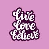 Leef liefde geloven Typografietekst Stock Fotografie
