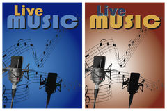 Leef muziekaffiche Stock Foto's