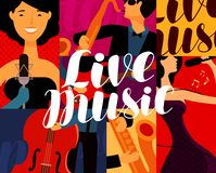 Leef muziekaffiche Muzikaal festivalconcept Vector illustratie stock illustratie