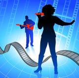 Leef muziekband op Internet filmachtergrond Stock Afbeelding