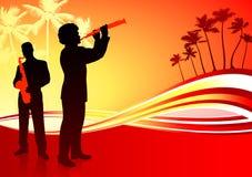 Leef muziekband op tropische rode achtergrond Stock Fotografie