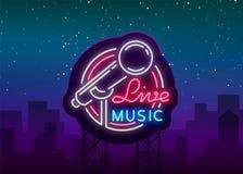 Leef muzikaal vectorneonembleem, teken, embleem, symboolaffiche met microfoon Heldere banneraffiche, neon helder teken stock illustratie