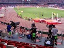 Leef uitzending voor het 2015 IAAF Kampioenschap van de Wereldatletiek in Peking Royalty-vrije Stock Foto's