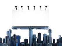 Leeg Aanplakbord met gebouwen Stock Afbeeldingen